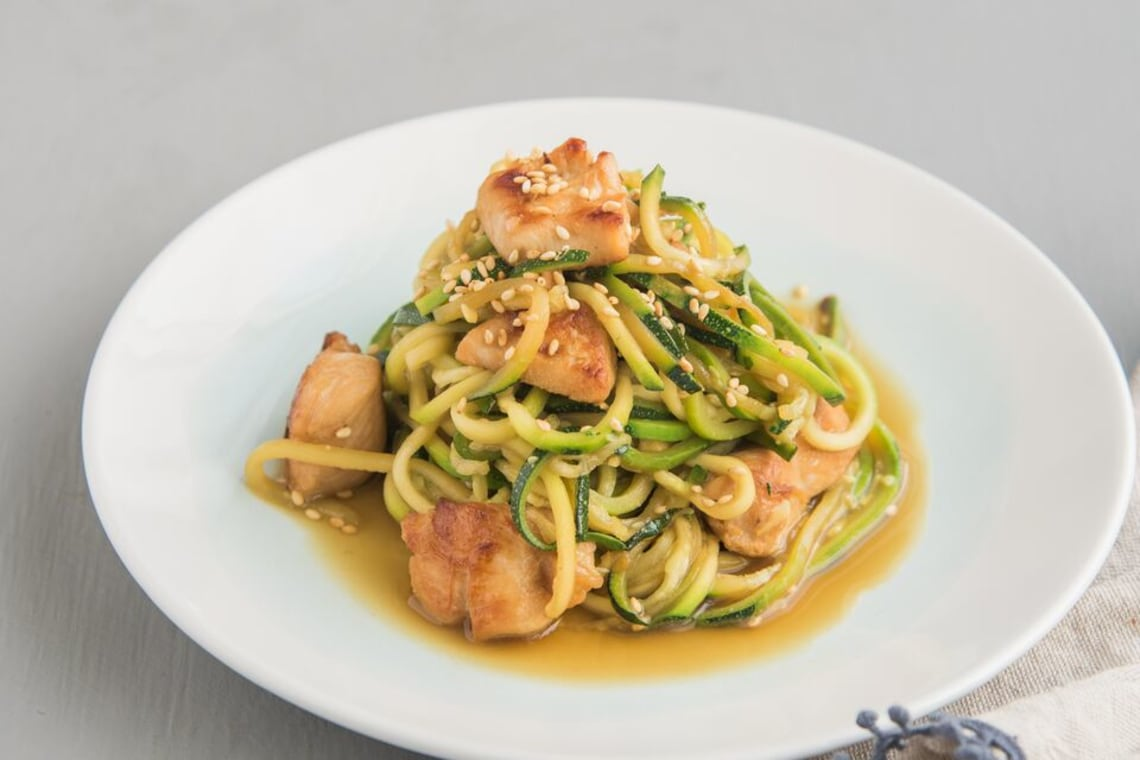 Zucchini Noodles with Soy-Ginger Chicken