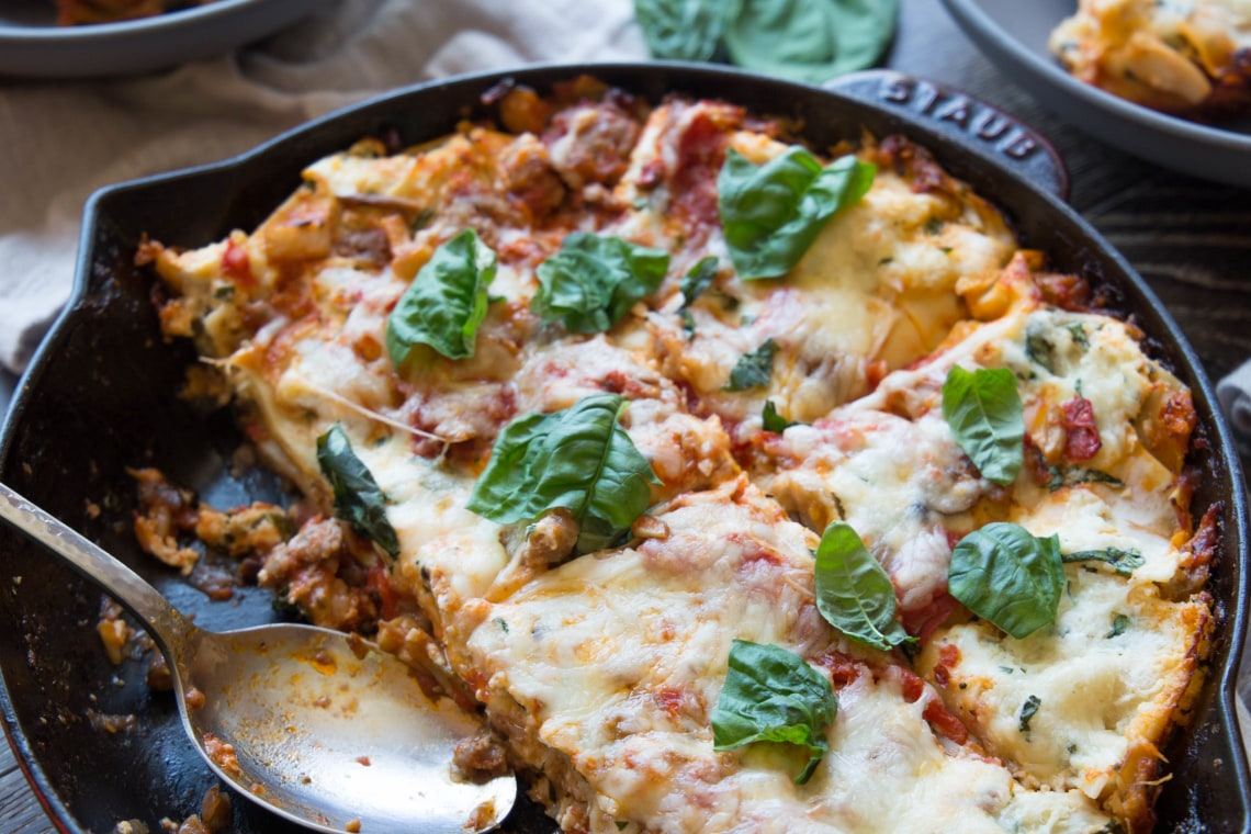 Cheesy Skillet Mushroom and Sausage Lasagna