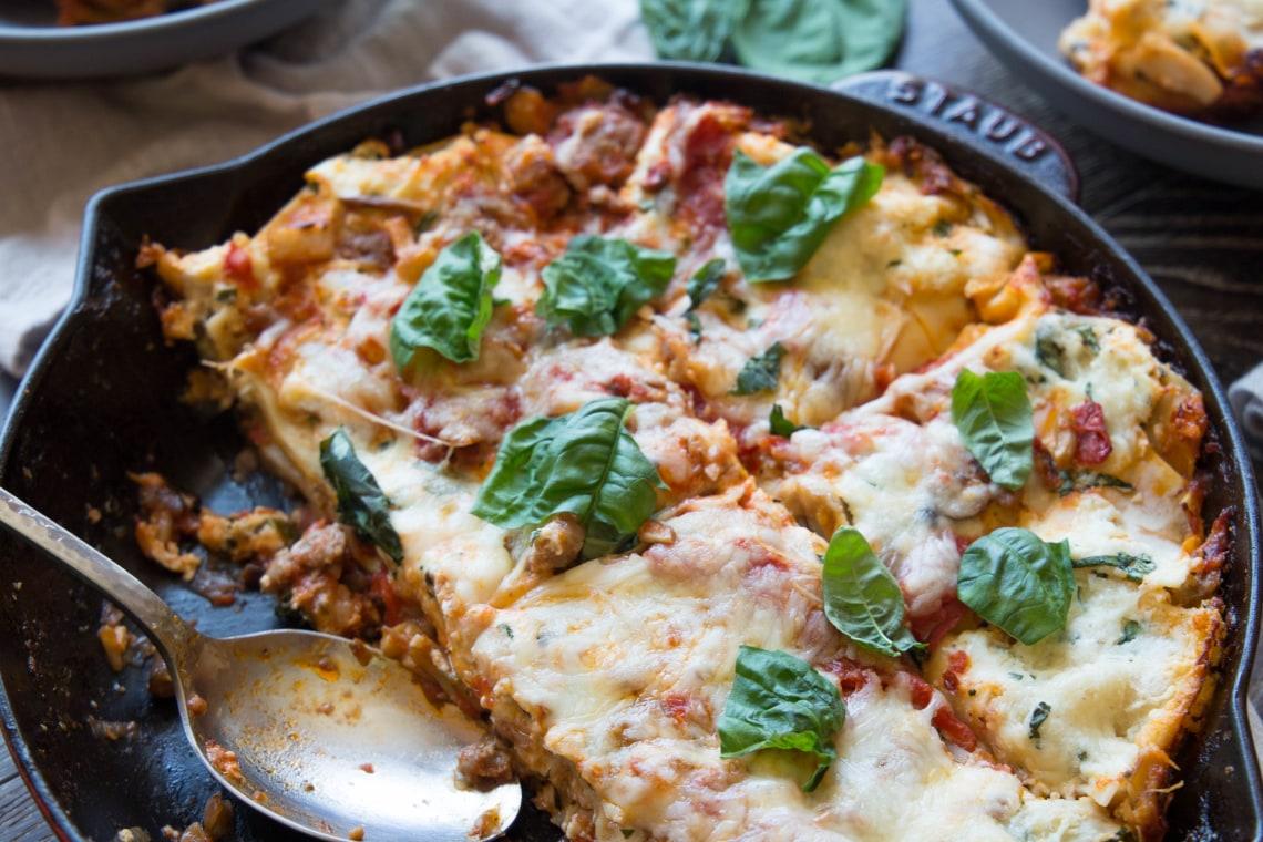 Cheesy Skillet Mushroom & Sausage Lasagna