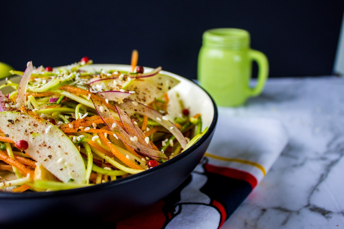 Spiralized Zucchini and Cucumber Salad with Asian Dressing