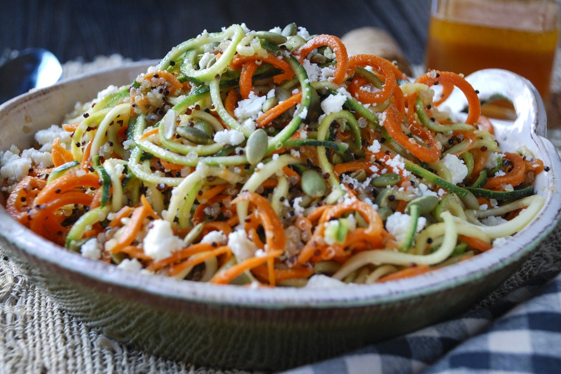 Quinoa, Carrot, and Zucchini Noodles with Honey-Sriracha Dressing