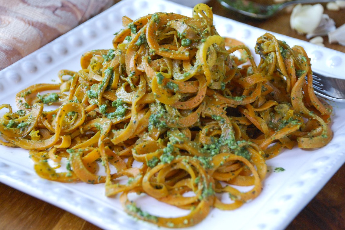 Carrot Noodles with Carrot-Top Pesto