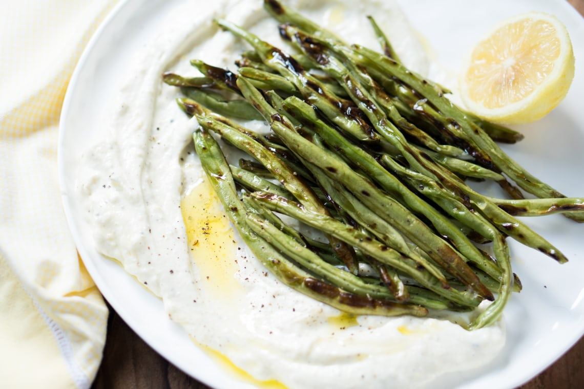 Grilled Green Beans with Lemon Ricotta