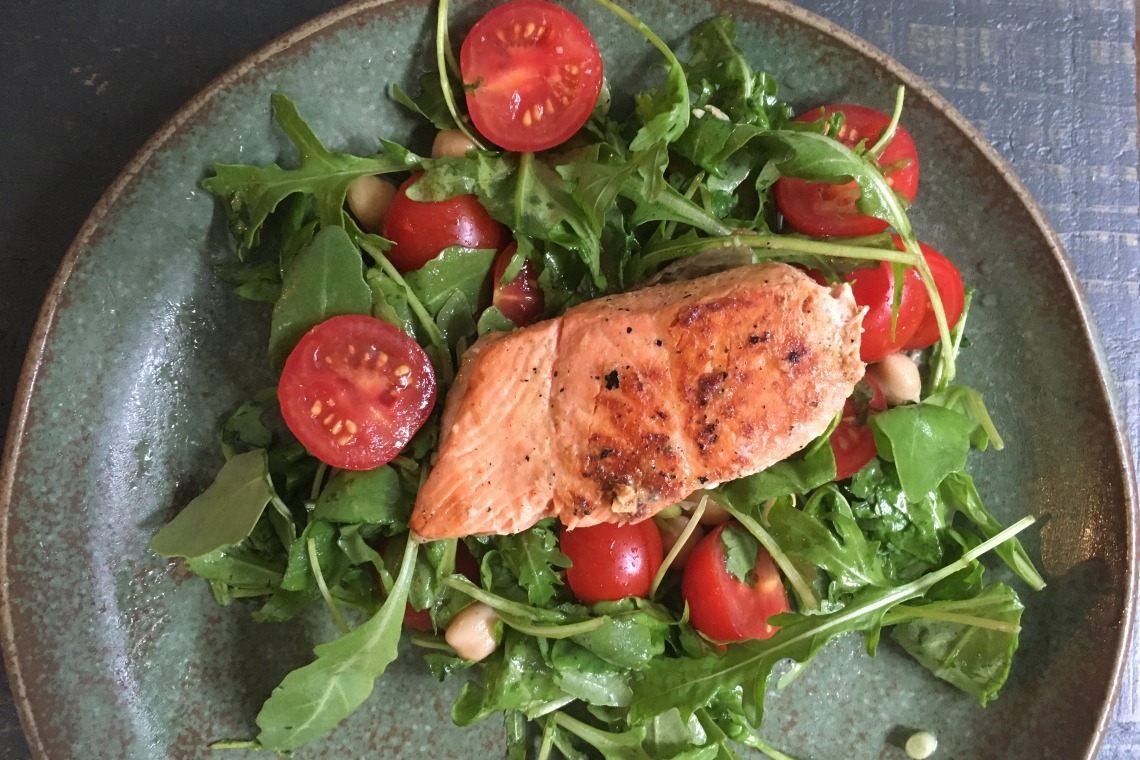 Miso-and-Mustard Marinated Salmon with Tomato, Chickpea, and Arugula Salad