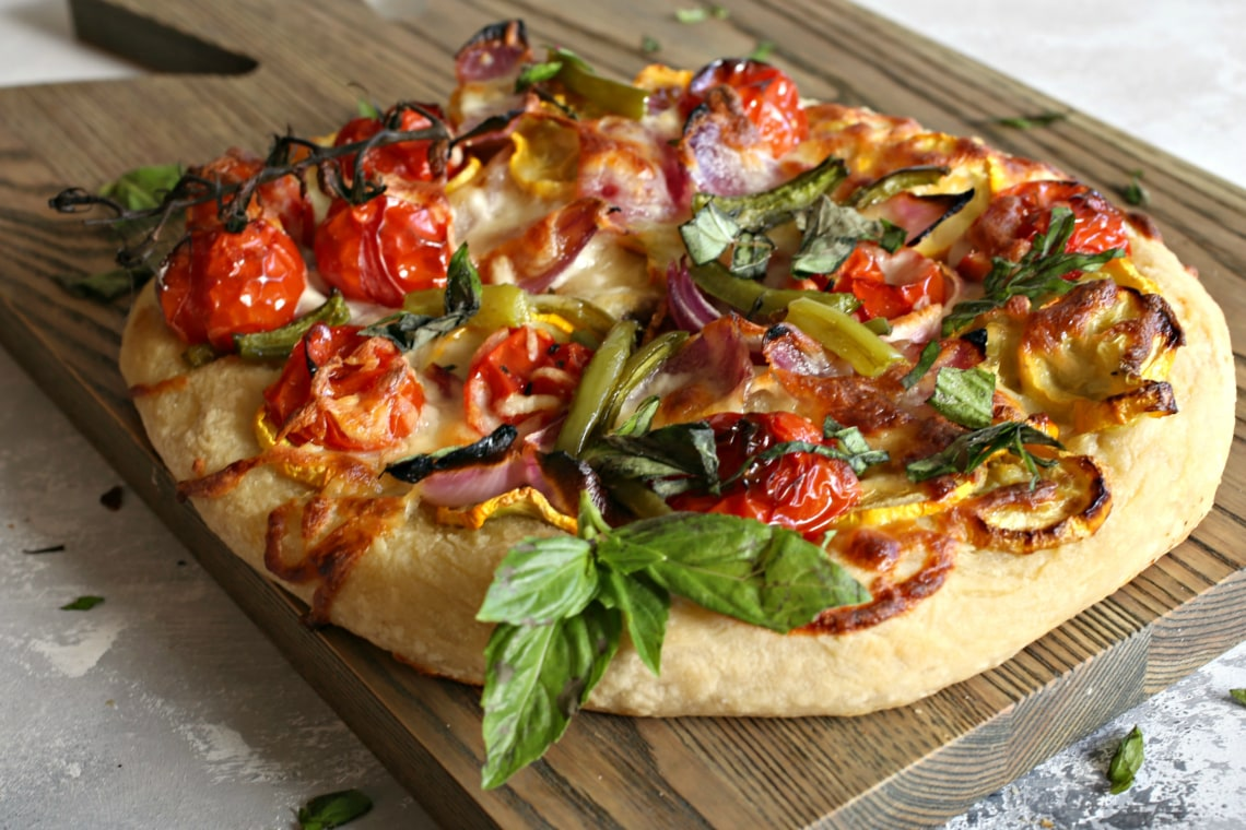Roasted Vegetable Cheese Pizza