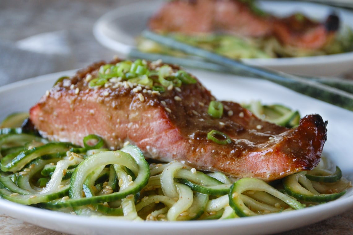 Miso-Glazed Salmon with Spiralized Sesame Cucumber Noodles
