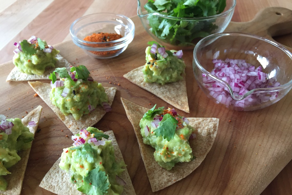 Miso-Sesame Guacamole with Baked Chips