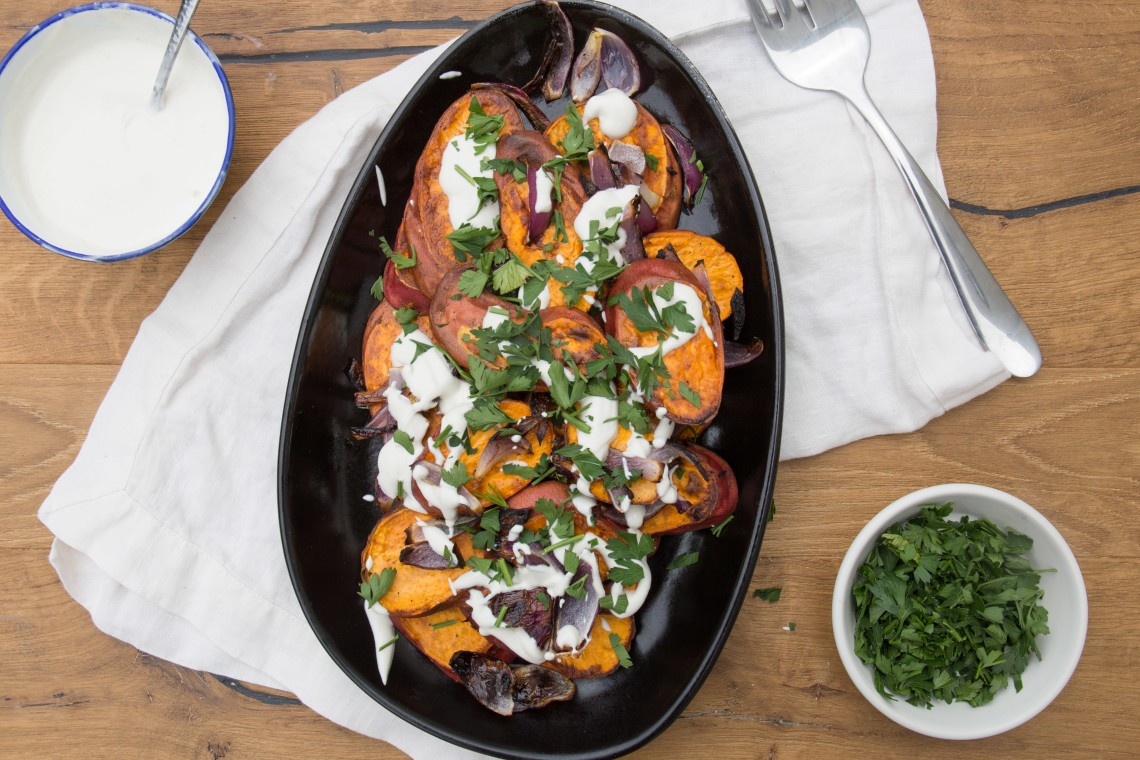 Roasted Sweet Potatoes with Red Onion and Tahini Yogurt