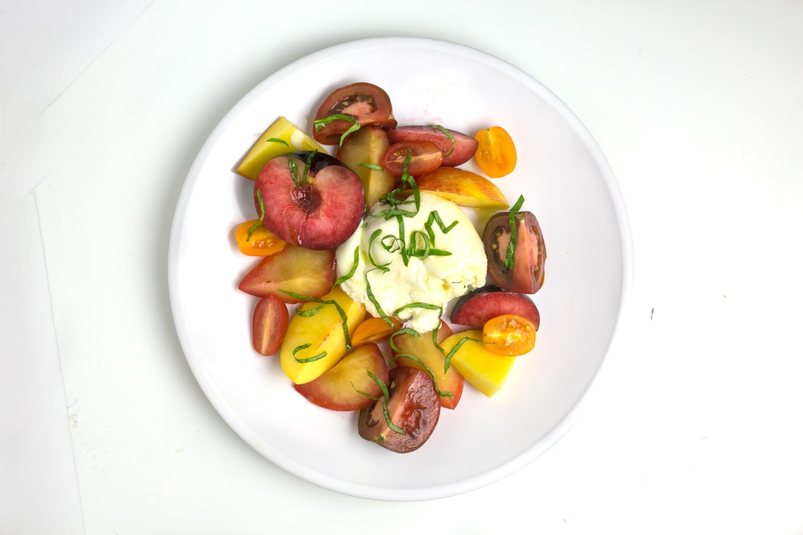 Stone Fruit-and-Burrata Caprese Salad