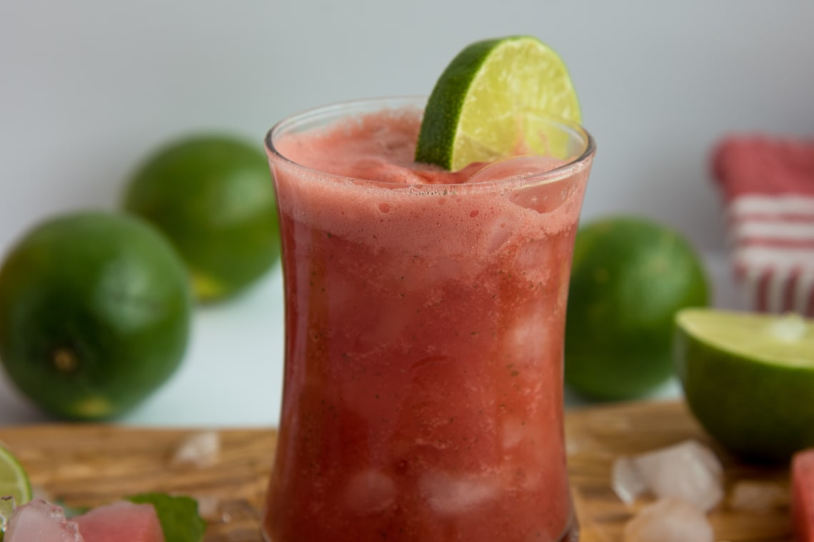 Watermelon, Lime, and Mint Juice
