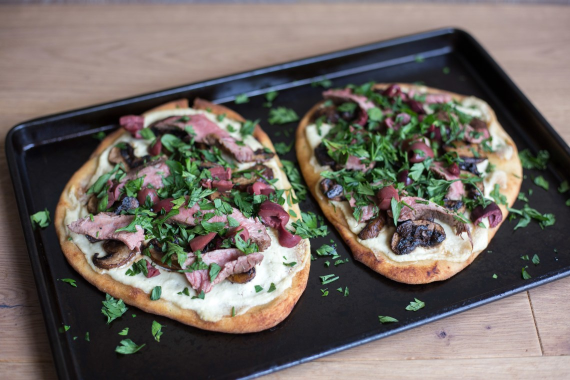 Steak, Mushroom, and Olive Naan Pizzas