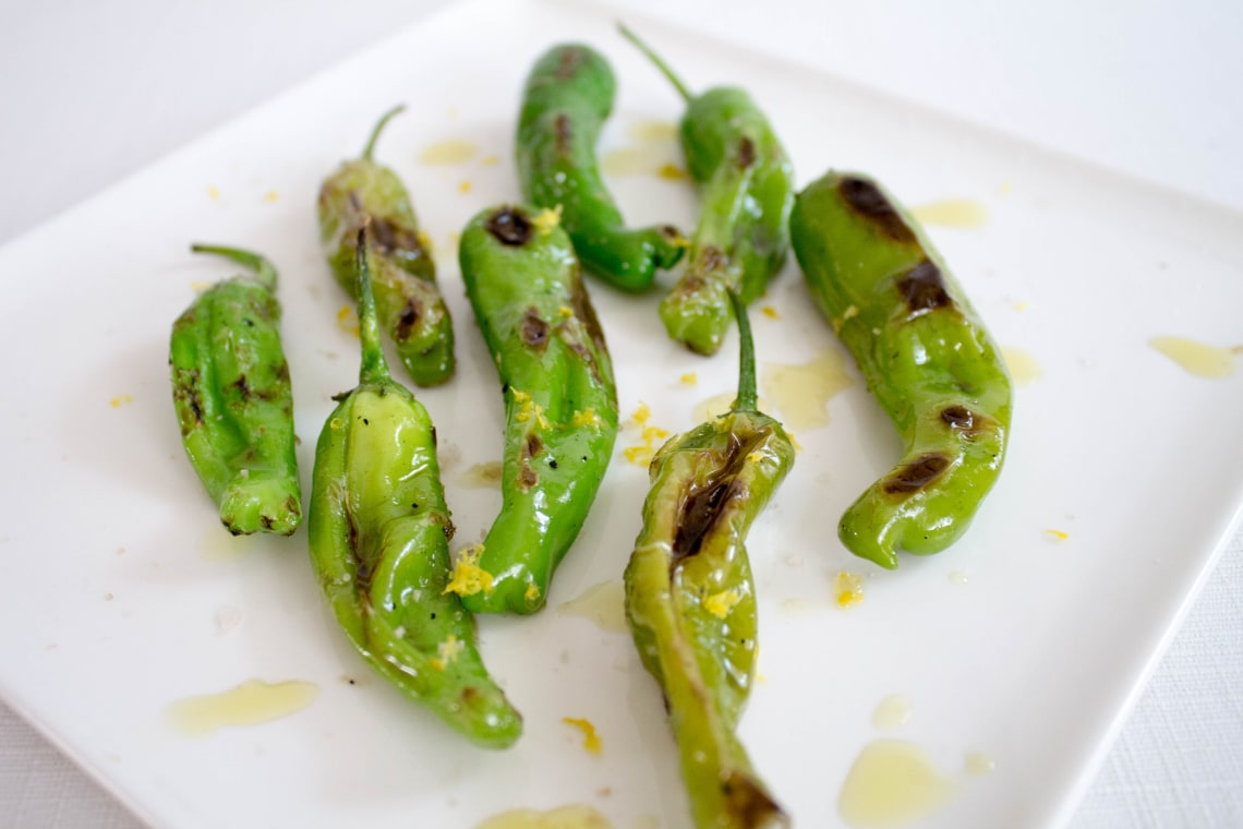 Blistered Shishito Peppers with Lemon and Olive Oil