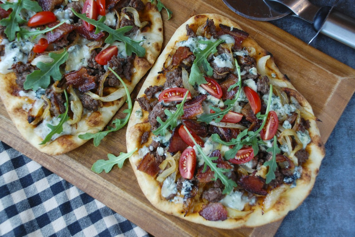 Bacon and Blue Cheeseburger Flatbread with Caramelized Onions