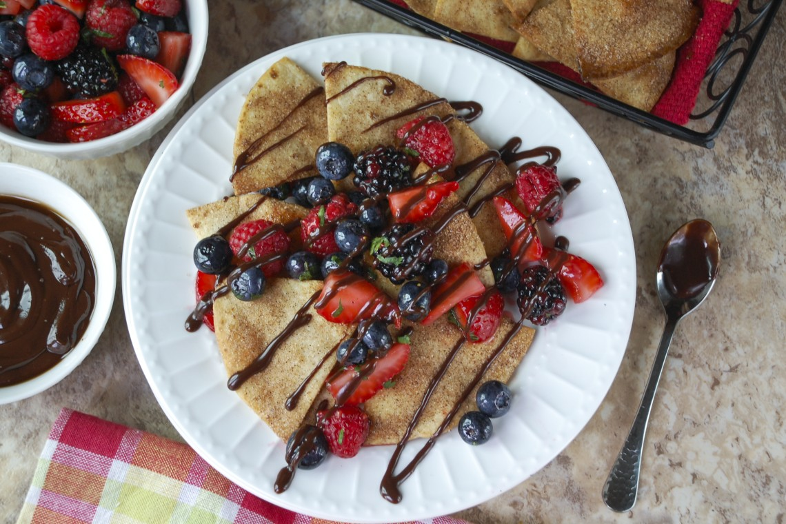 Churro Dessert Nachos with Berry Salsa and Chipotle Chocolate Drizzle