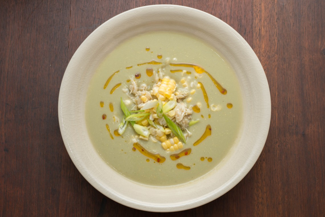 Creamy Corn Soup with Crab and Chili Oil