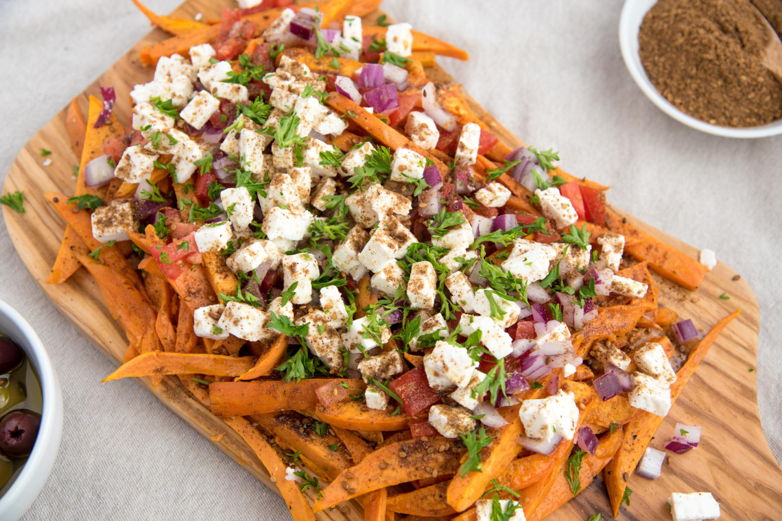Oven Baked Feta Cheese Sweet Potato Fries