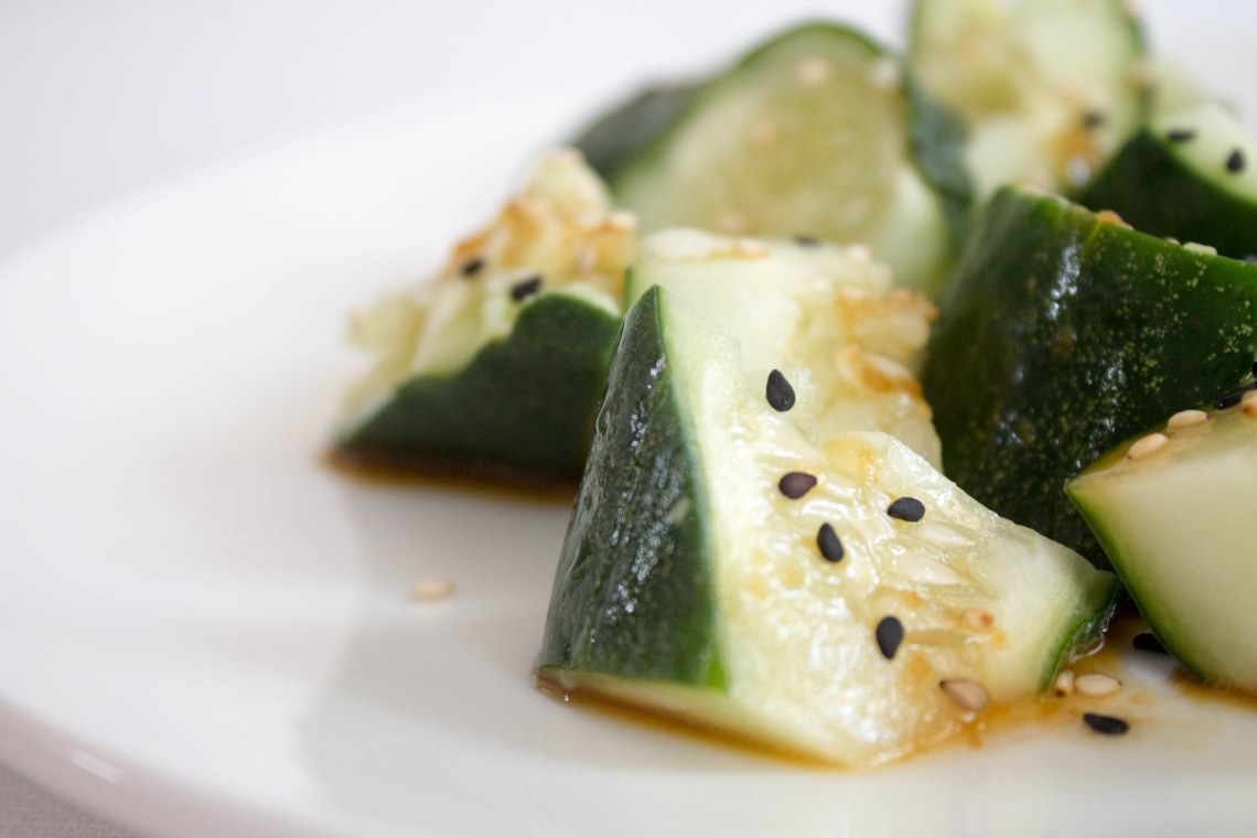 Smashed Cucumbers with Sesame Seeds, Ginger, and Fried Shallot