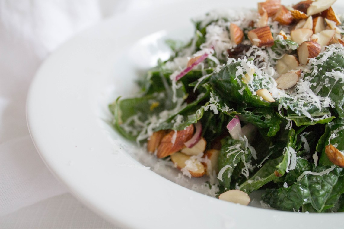 Kale Salad with Toasted Almonds, Cranberries, and Honey Mustard Vinaigrette