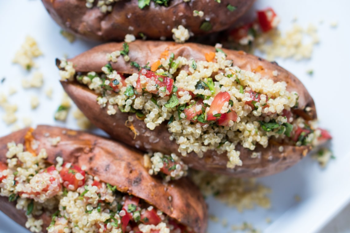 Vegan Loaded Sweet Potatoes with Quinoa Tabbouleh