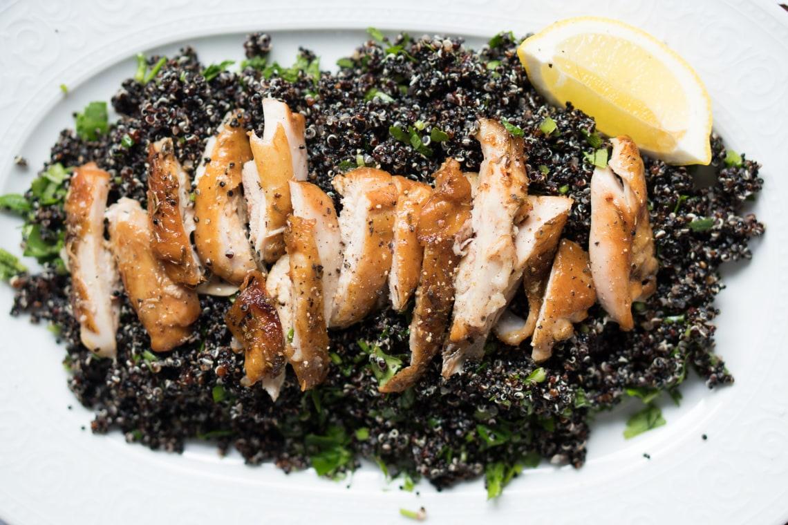 Lemon Chicken with Black Quinoa Salad