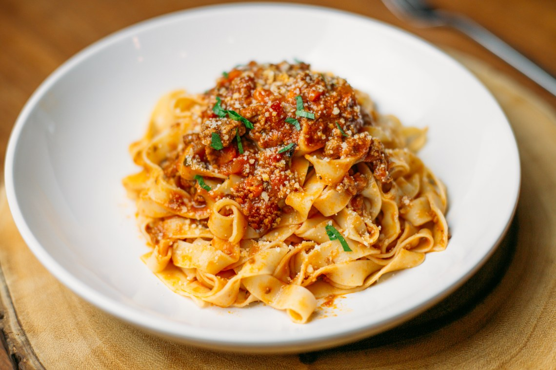 Fettuccine Pasta with Bolognese Sauce