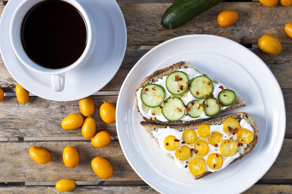 Yogurt Toast with Kumquat and Cucumber