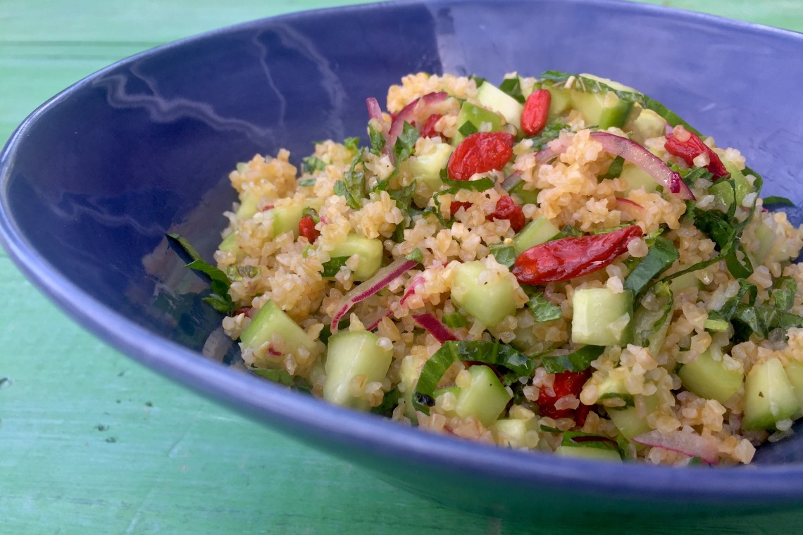 Tabouleh with Cucumber, Mint, and Goji Berries