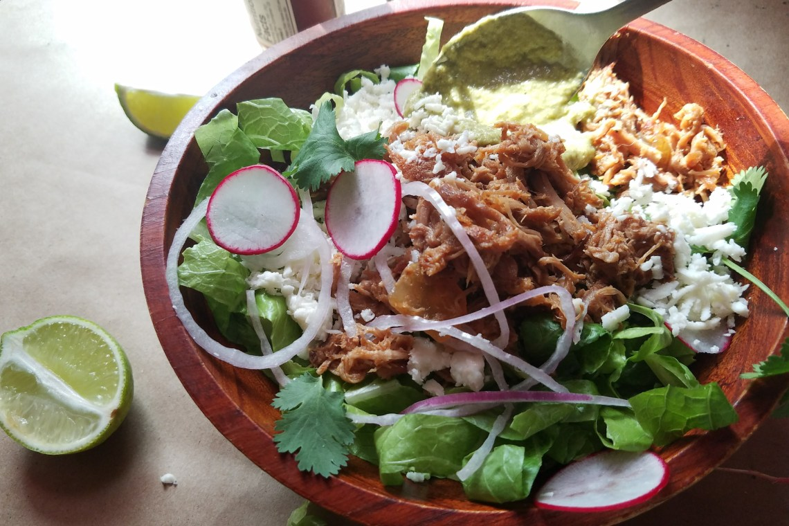 Slow Cooker Pulled Pork Taco Salad Bowls