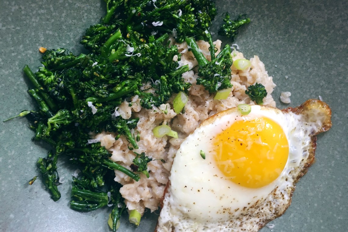 Savory Oatmeal with Broccolini and Fried Egg