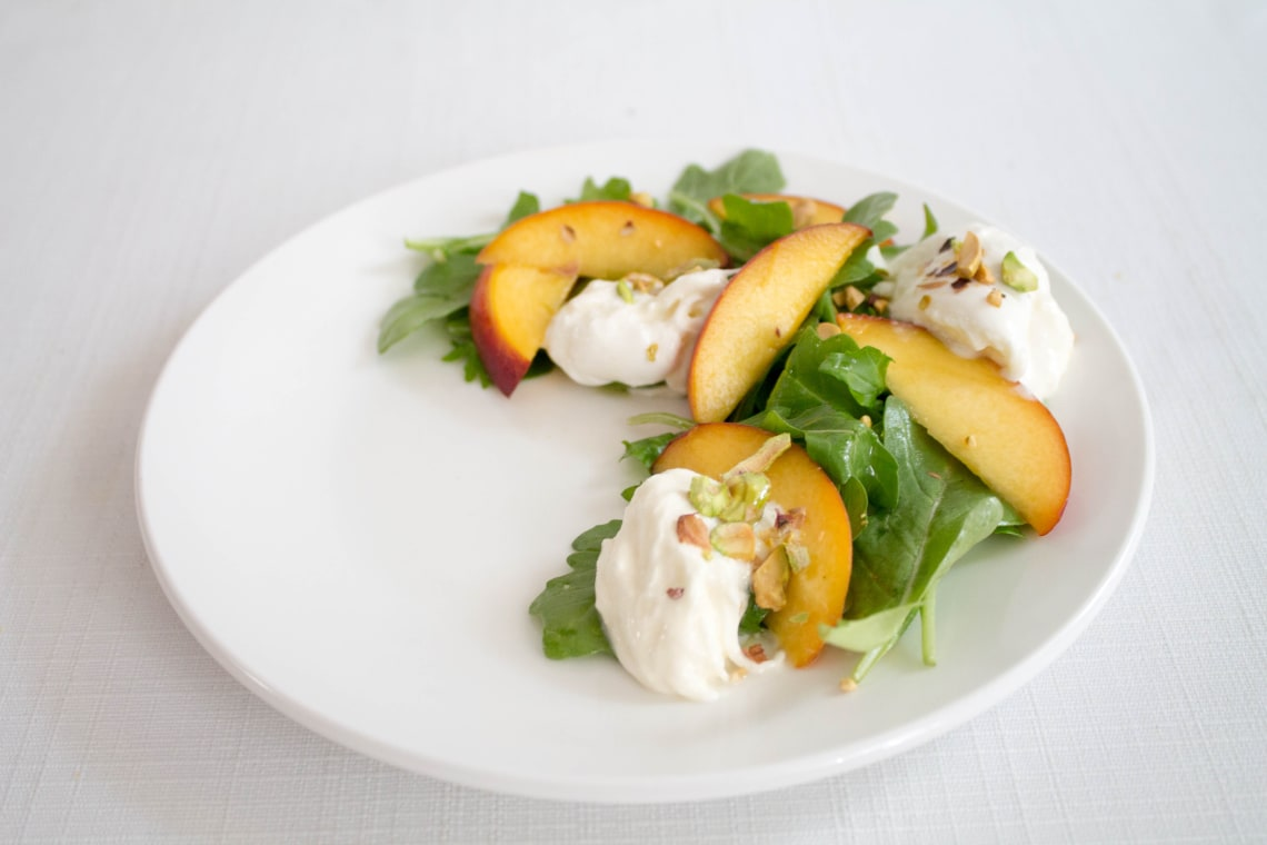 Quick-Pickled Peach and Burrata Salad