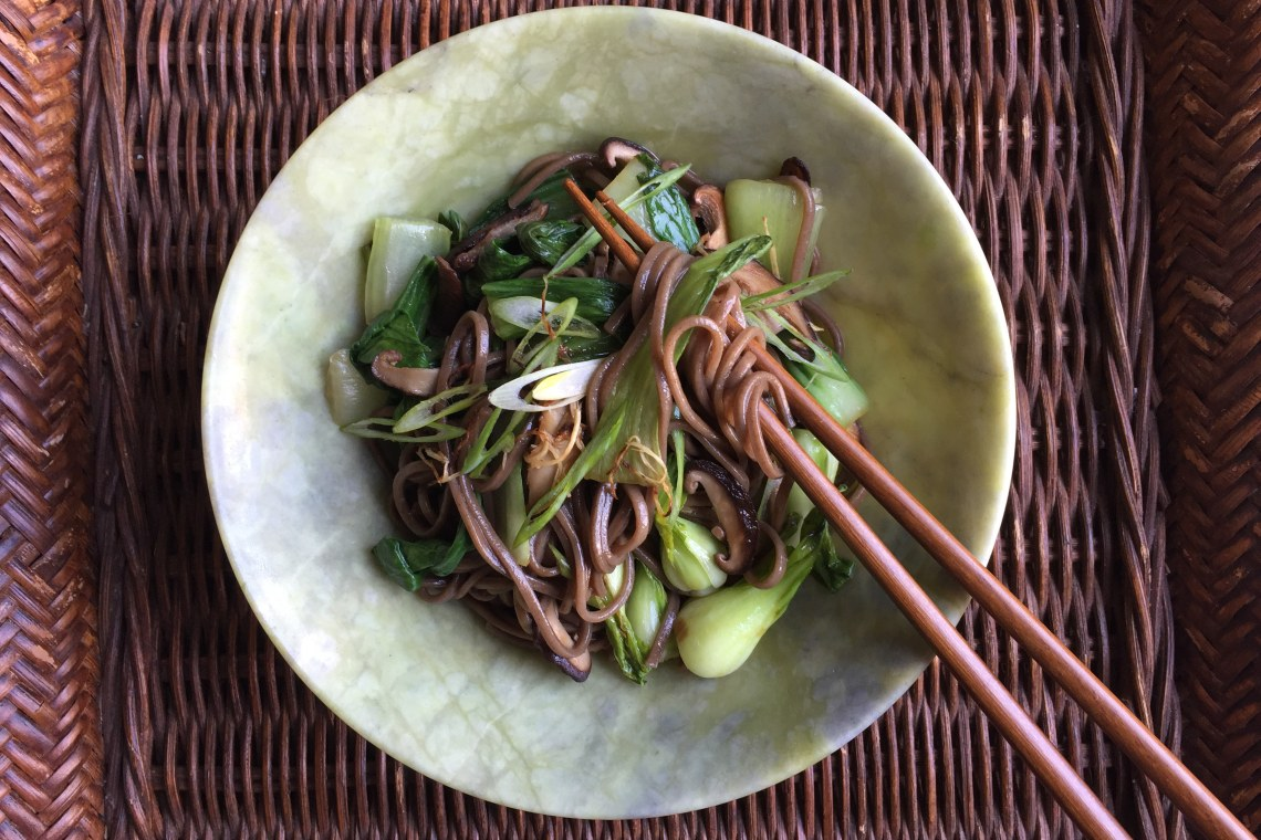 Cold Soba Noodles with Baby Bok Choy and Shiitakes