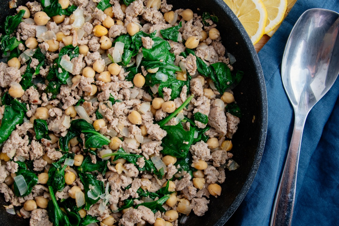 Ground Turkey, Spinach, and Garbanzo Bean Skillet