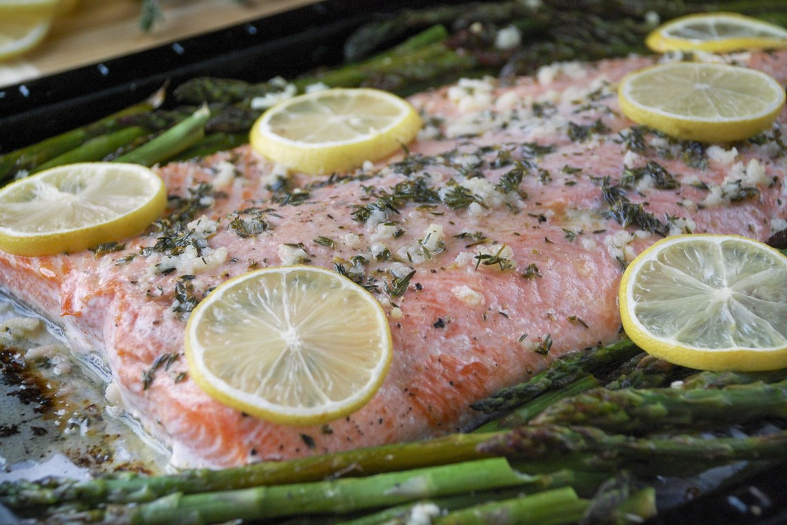 Sheet Pan Lemon-Thyme Salmon with Asparagus