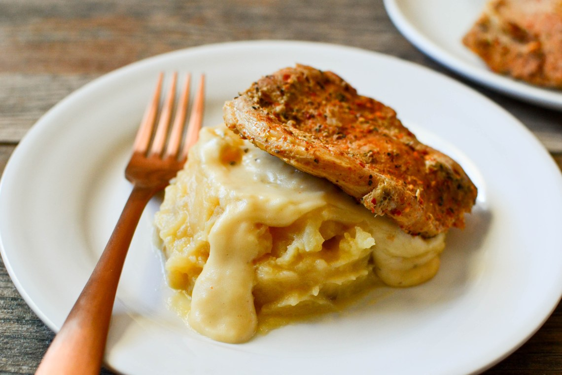 Pressure Cooker Pork Chops with Onion Mashed Potatoes and Gravy