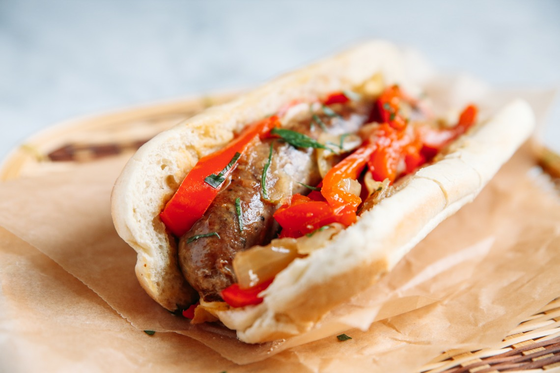 Pressure Cooker Beer-Braised Sausage with Peppers