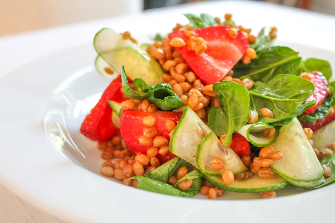 Wheatberry Salad with Strawberries and Basil