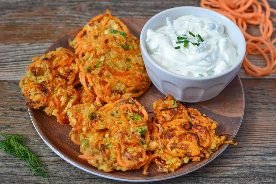 Sweet Potato Fritters with Creamy Herbed Yogurt Dip