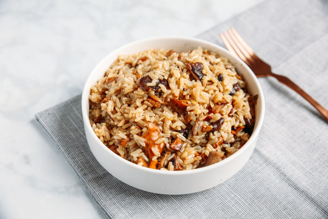 Pressure Cooker Brown Rice Pilaf with Mushrooms