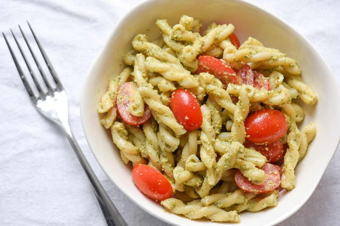 Pasta with Cilantro-Pecan Pesto and Grape Tomatoes