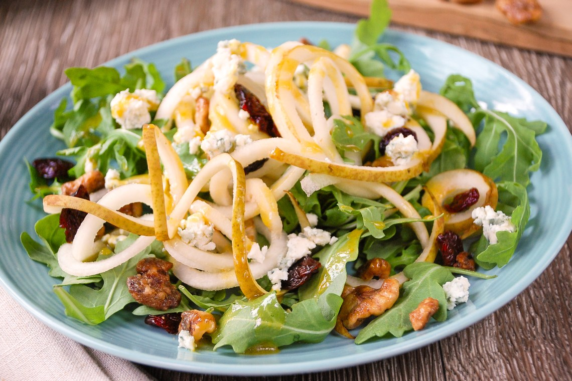 Pear and Arugula Salad with Maple-Dijon Dressing