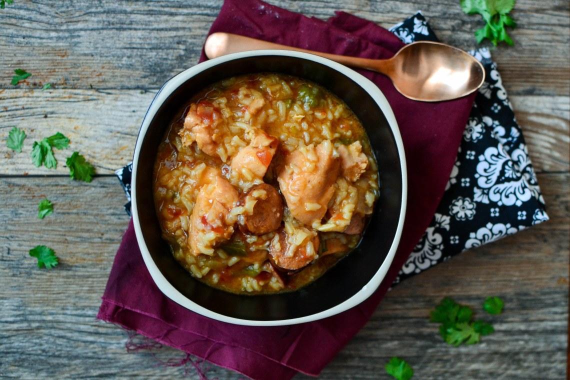 Pressure Cooker Chicken and Sausage Jambalaya