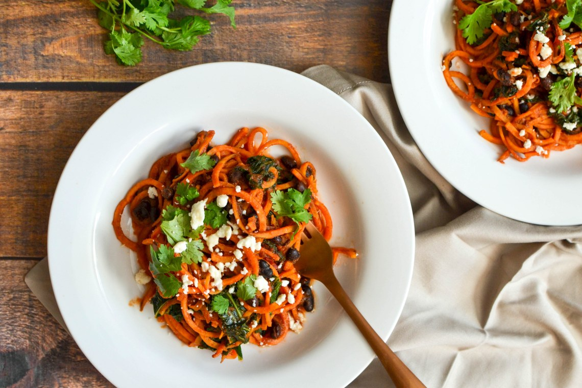 Spiralized Sweet Potato, Black Bean, and Kale Enchilada Bowls