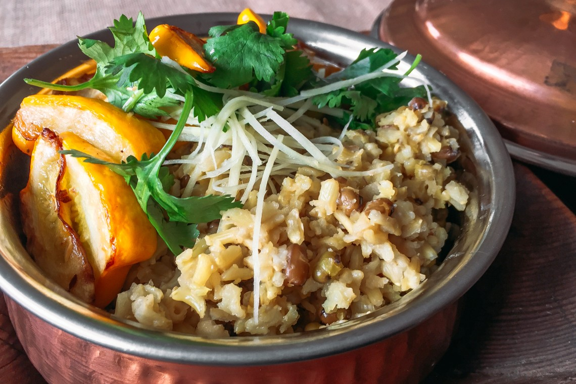 Brown Basmati Rice and Mung Bean Kitchiri with Yellow Squash