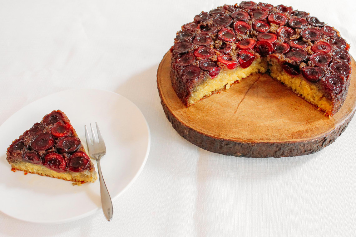 Cherry Semolina Upside-Down Cake