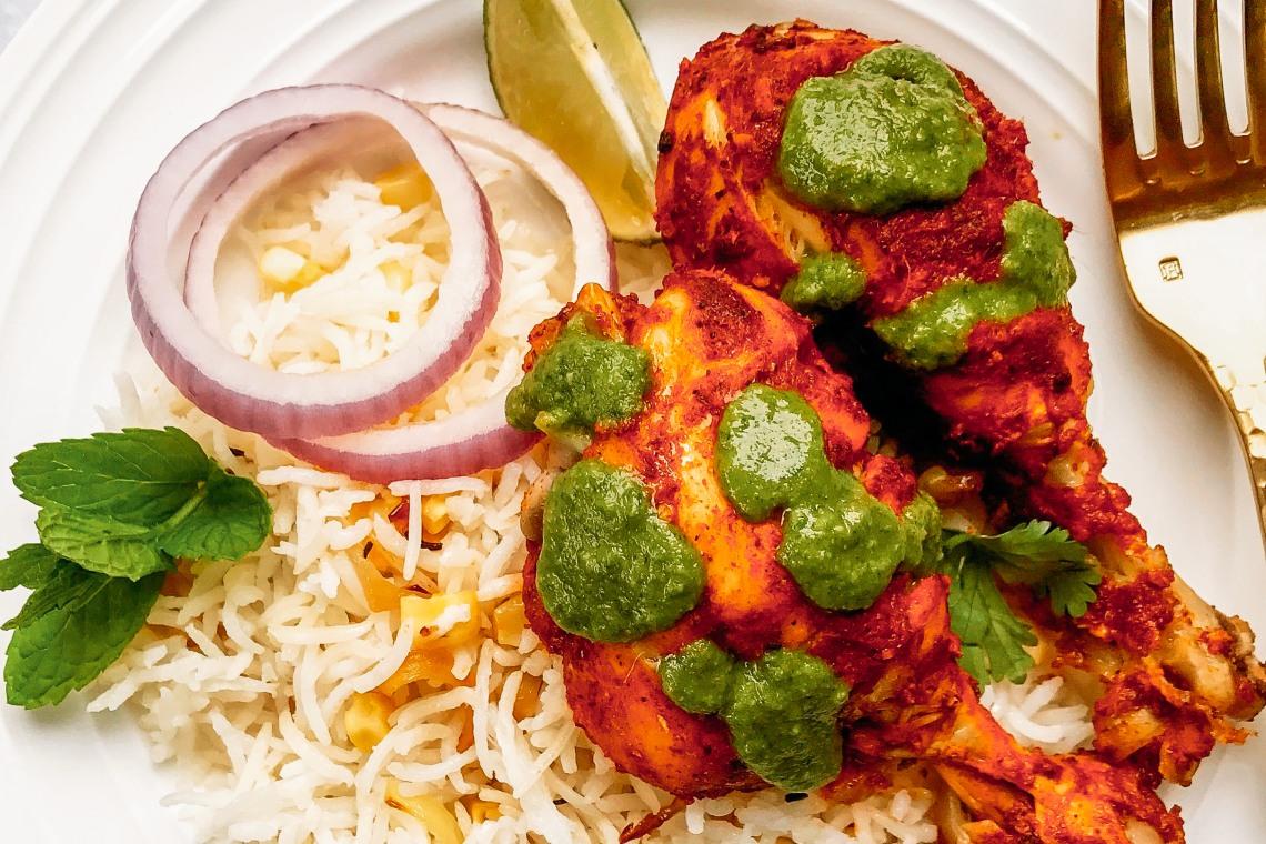Pressure Cooker Tandoori Chicken with Cilantro Chutney