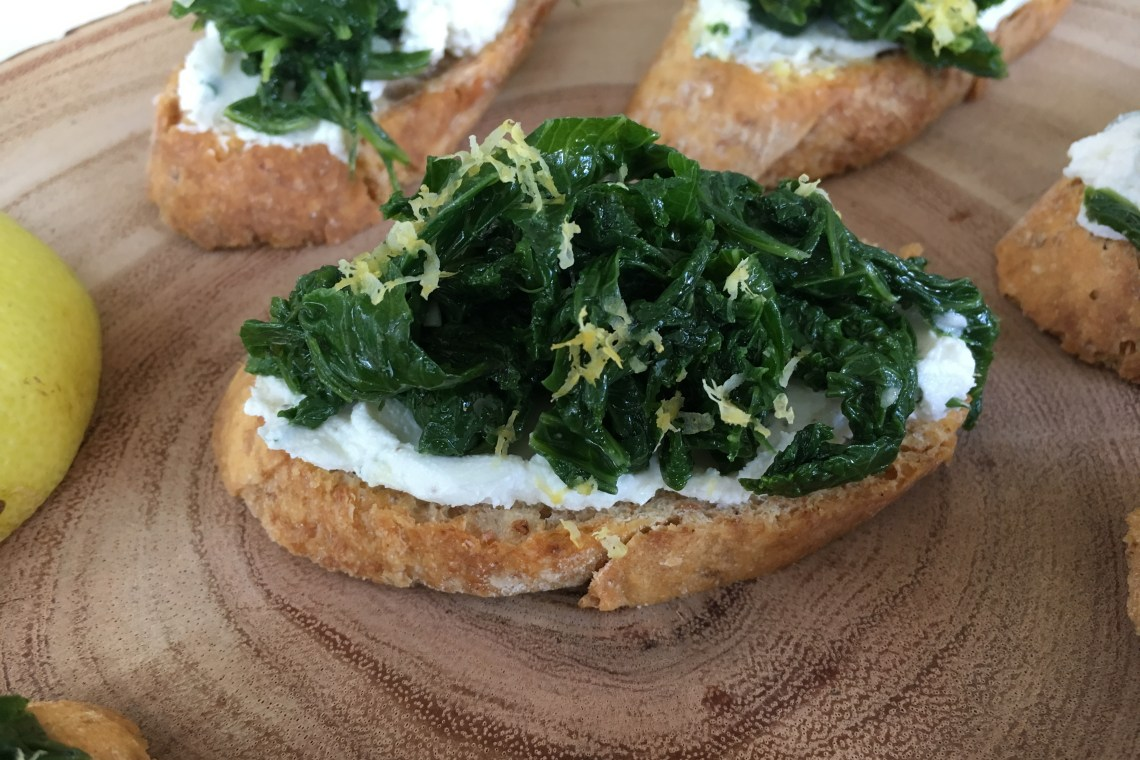 Herbed Goat Cheese Crostini with Garlicky Greens