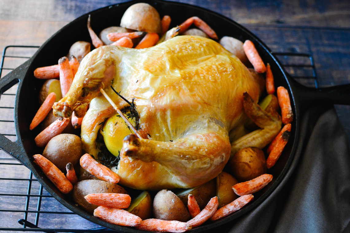 Cast-Iron Skillet Chicken with Carrots and Potatoes