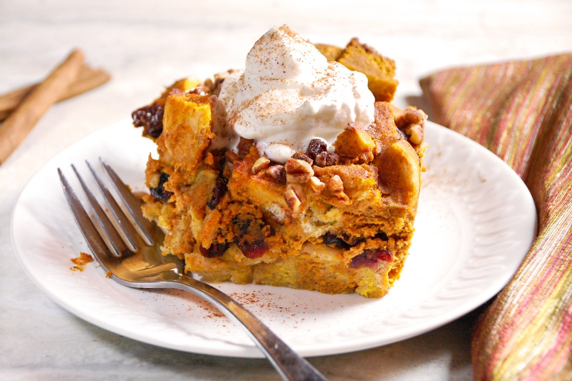 Pumpkin Spice Bread Pudding with Maple Whipped Cream