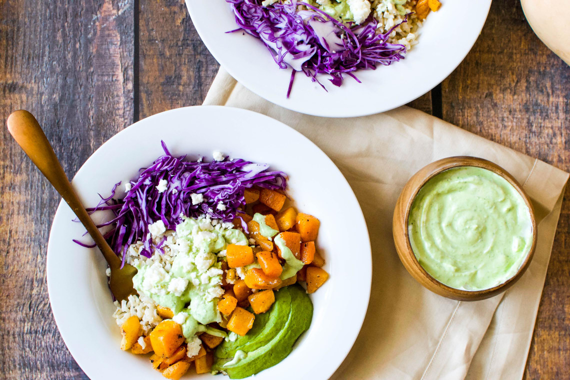 Brown Rice Buddha Bowls with Butternut Squash and Herby Yogurt Sauce