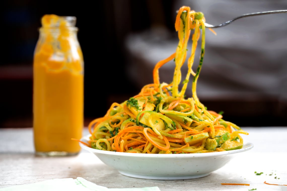 Spiralized Cucumber-Carrot Salad with a Creamy Ginger Dressing